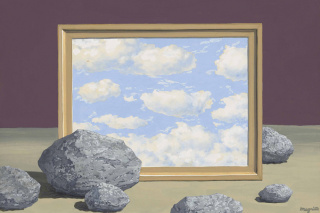 René Magritte (1898-1967) La Grande Marée, ca. 1957. Gouache sobre papel, 26,5 × 35 cm © Colección particular. Foto por cortesía de Sotheby's © René Magritte, Vegap, Málaga, 2020 — Cortesía del Museo Picasso Málaga