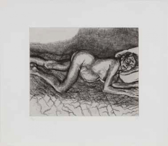 Lucian Freud: Before the Fourth, 2004. Grabado, plancha: 34,3 x 42,9; papel: 75,2 x 56,8cm, ed. de 46 — Cortesía de la galeía Marlborough