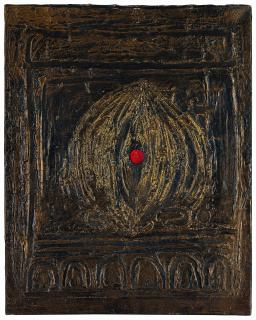 Modest Cuixart, Pintura, 1958. Texturación matérica y óleo sobre lienzo, 92,5 x 73 cm. Col·lecció Fundació Vila Casas — Cortesía de la Fundación Juan March