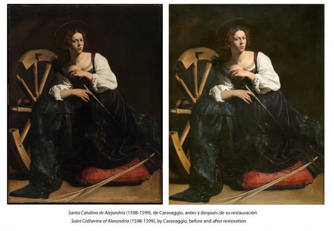 Caravaggio, Santa Catalina de Alejandría (1598-1599), antes y después de su restauración © 2018 Museo Nacional Thyssen-Bornemisza — Cortesía del museo