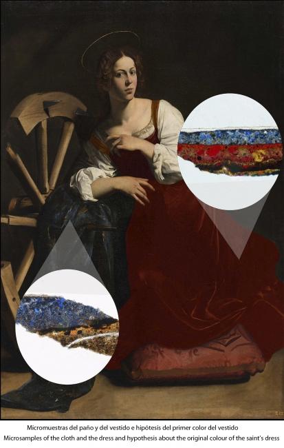 Micromuestras del paño y del vestido e hipótesis del primer color del vestido © 2018 Museo Nacional Thyssen-Bornemisza — Cortesía del museo