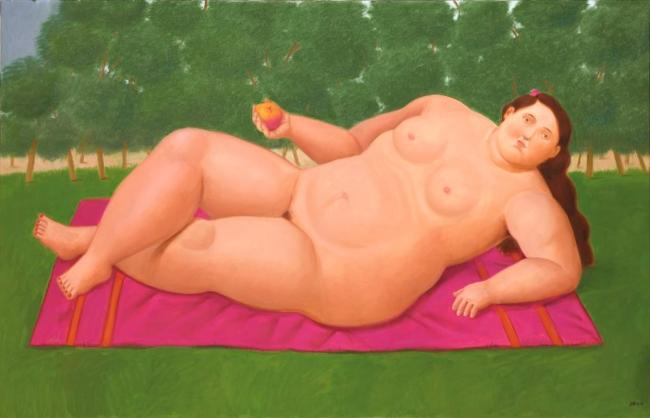 Fernando Botero, Eva, 2017. Óleo sobre lienzo, 100 x 156 cm.  — Cortesía de la Galería Marlborough