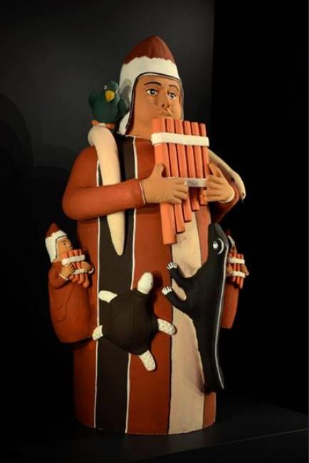 Chuncho, 2014, Gedion Caseo Fernandez Nolasco (Quechua, b. 1964), Lima, Peru. Pottery, paint