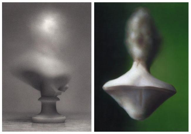 Martí Cormand, Busto. 2019 y Figura flotante. 2019. Óleo sobre cartón montado sobre madera — Cortesía de la galería Espacio Mínimo