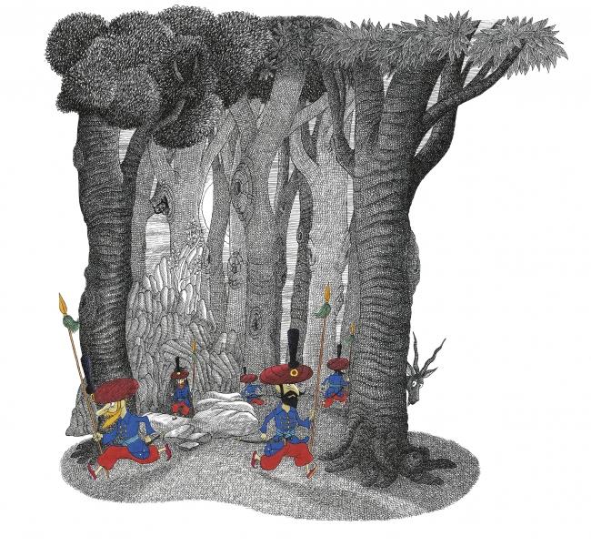 André Bouchard, Ilustración de El pachá que se aburría — Cortesía del Museo ABC