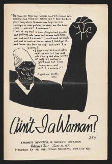 Capa de 'Ain't I a Woman? A Midwest Newspaper of Women's Liberation', v. 1, n. 1, 26.6.1970 - jornal publicado entre 1970 e 1974 em Iowa City, Estados Unidos, acervo MASP