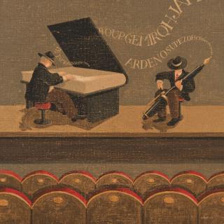 Jordi Sàbat, Concert literari, 60x60 cm. Acrílic sobre tela — Cortesía de la galería Jordi Barnadas