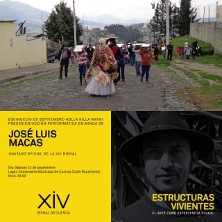 Procesión / acción en minga. Imagen cortesía Bienal de Cuenca