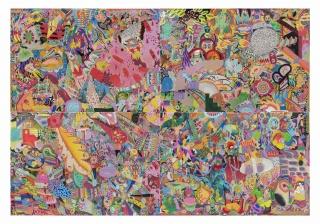 THIAGO BARBALHO, 2019 A REDENÇÃO IDIÓTICA. LÁPIS DE COR, MARCADOR PERMANENTE, LÁPIS GRAFITE, CANETA, SPRAY, ÓLEO. ACRÍLICA E ADESIVO SOBRE PAPEL.234 x 160 cm.