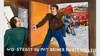 Jörg Immendorff. Wo stehst du mit deiner Kunst, Kollege? [¿Dónde estás con tu arte, colega?], 1973. Acrílico sobre lienzo, 130 x 210 cm. Musée d'Art Moderne de la Ville de Paris — Cortesía del Museo Reina Sofía