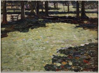 Wassily Kandinsky, Park von Saint-Cloud, Waldlichtung, 1906-1907. Huile sur carton, cm 24 x 33 Collection Centre Pompidou, Musée national d'art moderne, Paris. Legs de Mme Nina Kandinsky en 1981