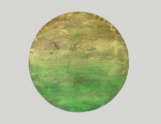 CHROMATIC TERRITORIES.Alberto Reguera, 2016. Tondo diameter 150 cm . Acrylic on canvas.