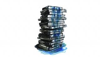 Fabrizio Plessi, IL LIBRO DEI LIBRI, 2018. Tècnica mixta damunt paper, 30x40 cm. Col·lecció particular. © de l'obra, Fabrizio Plessi, 2019 — Cortesía de Es Baluard