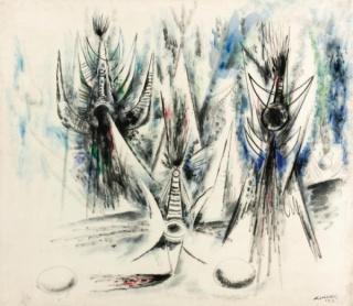 Wifredo Lam, Les Oiseaux Voilés , 1945, Oil on canvas, 43 5/8 x 59 1/2 in. [111 x 125.7 cm.]
