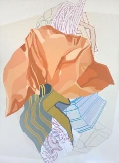 Cristina del Campo, Serie Drapeados, Óleo y grafito sobre tela, 180x130, 2016
