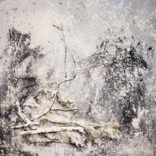 Marcos Tamargo, Recuerdos, 100x100 cm. Mixta sobre tabla – Cortesía de la Galería Alfonso XIII