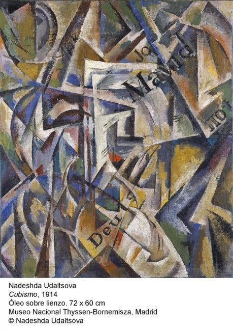 Nadeshda Udaltsova, Cubismo, 1914. Óleo sobre lienzo, 72x60 cm. Museo Nacional Thyssen-Bornemisza © Nadeshda Udaltsova — Cortesía del Museo Nacional Thyssen-Bornemisza