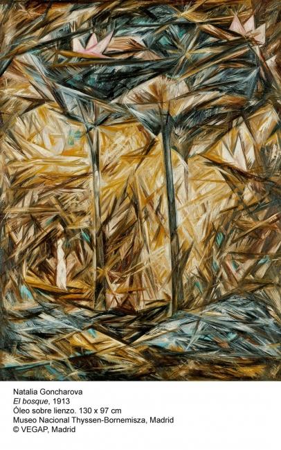 Natalia Goncharova, El bosque, 1913. Óleo sobre lienzo, 130x97 cm. Museo Nacional Thyssen-Bornemisza © VEGAP, Madrid — Cortesía del Museo Nacional Thyssen-Bornemisza