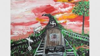 Ceija Stojka. Sin título. Acrílico sobre cartón. 50 x 70 cm. Colección Hojda y Nuna Stojka, Viena — Cortesía del Museo Nacional Centro de Arte Reina Sofía