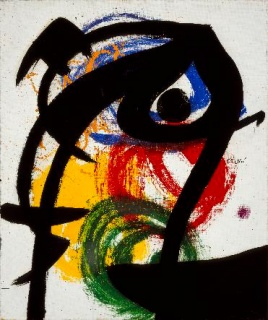 Joan Miró. Personaje, pájaro II, 1973. Óleo sobre tela. Colección particular © Successió Miró 2019 — Cortesía de la Fundació Joan Miró