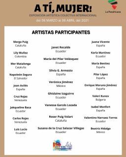Cartel de los artistas participantes en dicha exposición colectiva.