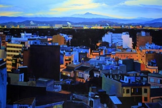 Vista nocturna de Burriana, A/T, 100x150 cm. (A.B.)