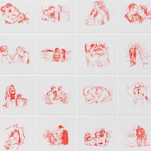 [detalhe] Leda Catunda, Amor e romance, 2017, serigrafia sobre azulejo, 15 x 15 cm. (cada - conjunto de 20). Edição de 25 + 3PA