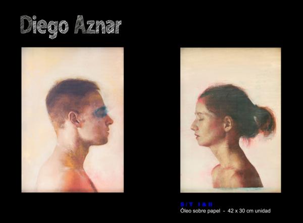 Diego Aznar, S/T, óleo sobre papel, 42x30 cm.