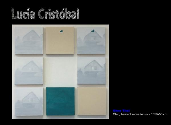 Lucía Cristóbal, Ohne Titel. Óleo, aerosol sobre lienzo - 1/50x50 cm.