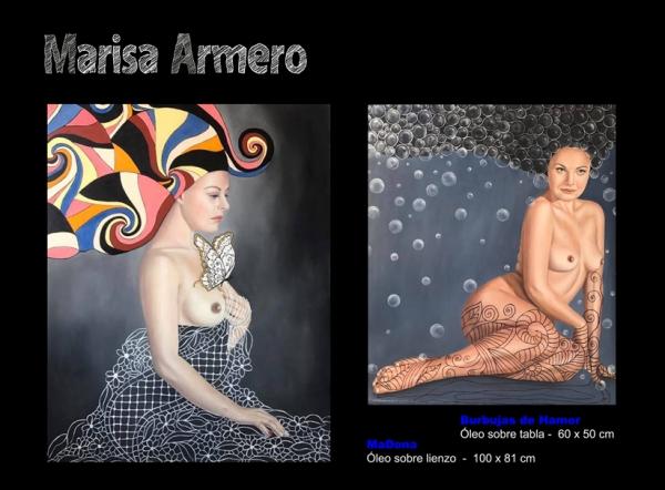 Marisa Armero, MaDona. Óleo sobre lienzo, 100x81 cm. // Burbujas de Hamor. Óleo sobre tabla, 60x50 cm.