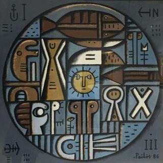 Manuel Pailós. Uruguay, 1918-2004. Planeta, tempera sobre cartón. 110 x 110 cms. 1986