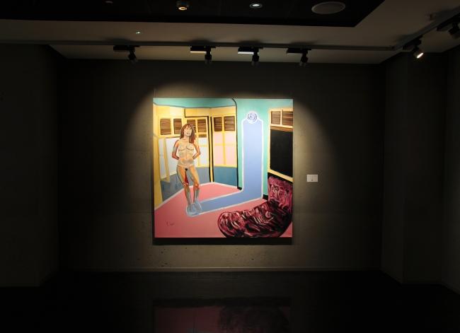 """Puedes pasar, pero jamás volverás a tocarme"". (180 x 180 cm) óleo sobre tela"