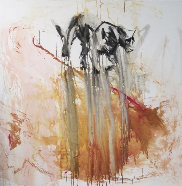 Adriana Cuellar, Tierra, acrílico sobre lienzo, 160 x 160 cm. — Cortesía de Beatriz Esguerra Arte