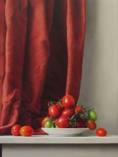 Rafael de La Rica, Plat de tomàtics, 56 x 42 cm. Oli sobre fusta