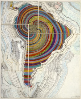 Juan Downey, Map of America, 1975. Colored pencil, pencil, and synthetic polymer paint on map on board. 34 1/8 x 20 in. (84.7 x 51.4 cm). Photograph by Harry Shunk. The Estate of Juan Downey, New York, via The Museum of Modern Art, New York.