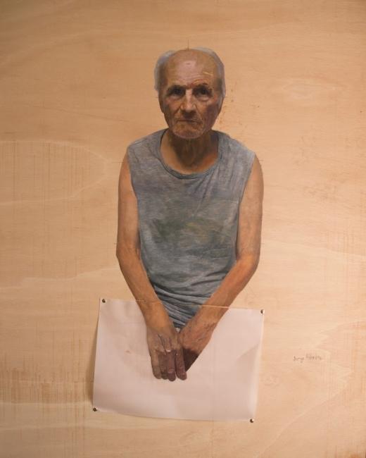 Jorge Abbad, Antonio (studio per ritratto di Antonio López García), olio su tavola, 2017, 122x97 cm