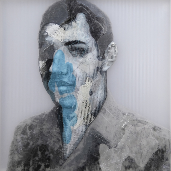 Rogelio Manzo, Javier III, 40 x 40 cm Oil and mixed media on resin panel 2019 — Cortesía de janinebeangallery