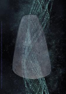 pOSTAL: composición gráfica a partir de la fotografía de la PIEDRA DEL RAYO de Roberto Tolín. Museos Arqueológicos de Asturiaseso