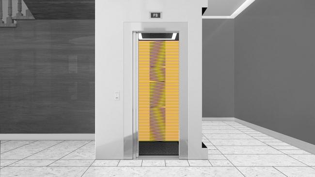 Carlos Cruz-Diez, M;ontalbán 11, ascensor — Cortesía de la galería Odalys