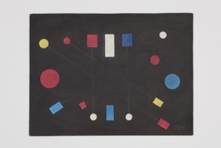 Loló Soldevilla  Sin titulo, 1956  collage, mixed media on cardboard  15 1/2 x 20 3/4 inches (39.3 x 52.6 cm)  signed, lower right corner  LSol-7