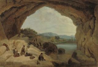 Manuel Barrón, Emboscada a unos bandoleros en la cueva del Gato, 1869. Colección Carmen Thyssen-Bornemisza en préstamo gratuito al Museo Carmen Thyssen Málaga