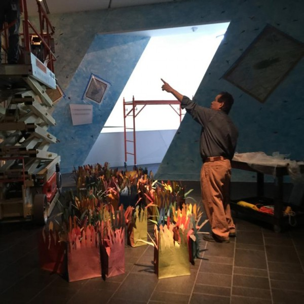 Francisco Alvarado-Juárez installing Aqua-Terra / Terra-Aqua. Photo courtesy Michael Gadlin.