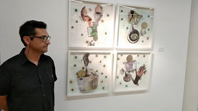 """Antonio García con la obra """"El fin de la hucha de las pensiones"""", 2018"""