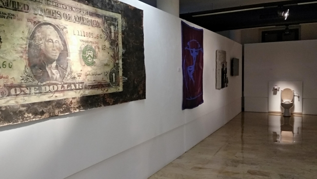Panorámica de la muestra en la Sala Nicolás Almansa. Museo de la Universidad de Murcia
