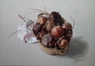 """Serra de Rivera, """"Cesta con granadas"""". Óleo sobre cartón. 52,5 x 75 cm. — Cortesía de Palmadotze"""