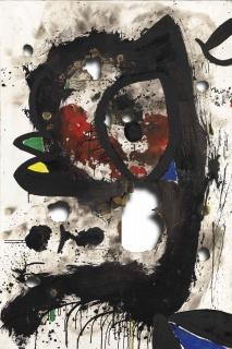 Joan Miró, Toile brûlée III, 4-31 dez 1973. Tinta acrílica sobre tela queimada, 195 x 130 cm. Col. Estado Português, em depósito na Fundação de Serralves - Museu de Arte Contemporânea, Porto — Cortesía del Museu Serralves