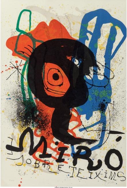 """Joan Miró, Sobreteixisms, 1973. Lithographic print made for the exhibition of the """"Sobreteixisms"""" at the Galerie Maeght, Paris, 86x59 cm. Desenho / Obra sobre papel. Fundació Joan Miró, Barcelona — Cortesía del Museu Serralves"""