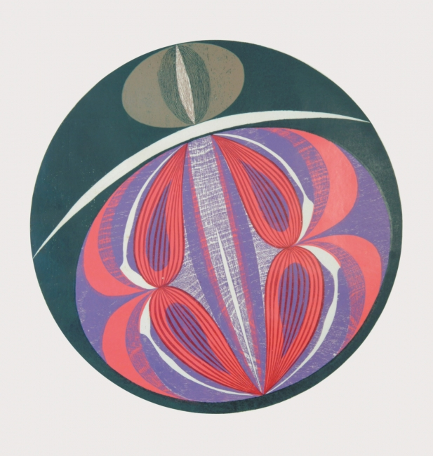 Rimer Cardillo. Círculo I. Xilografía multicolor impresas sobre papel. 81 x 75 cm. 1968.