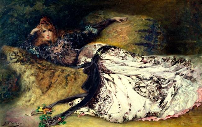 GEORGES CLAIRIN, Sarah Bernhardt, 1880-1885. Óleo sobre lienzo, 82 x 127 cm. MUba Eugène Leroy, Tourcoing — Cortesía del Ayuntamiento de Málaga