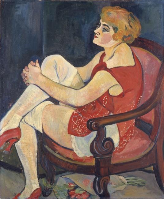 SUZANNE VALADON, Mujer con medias blancas, 1924. Óleo sobre lienzo, 73 x 60 cm. Musée des Beaux-Arts, Nancy — Cortesía del Ayuntamiento de Málaga